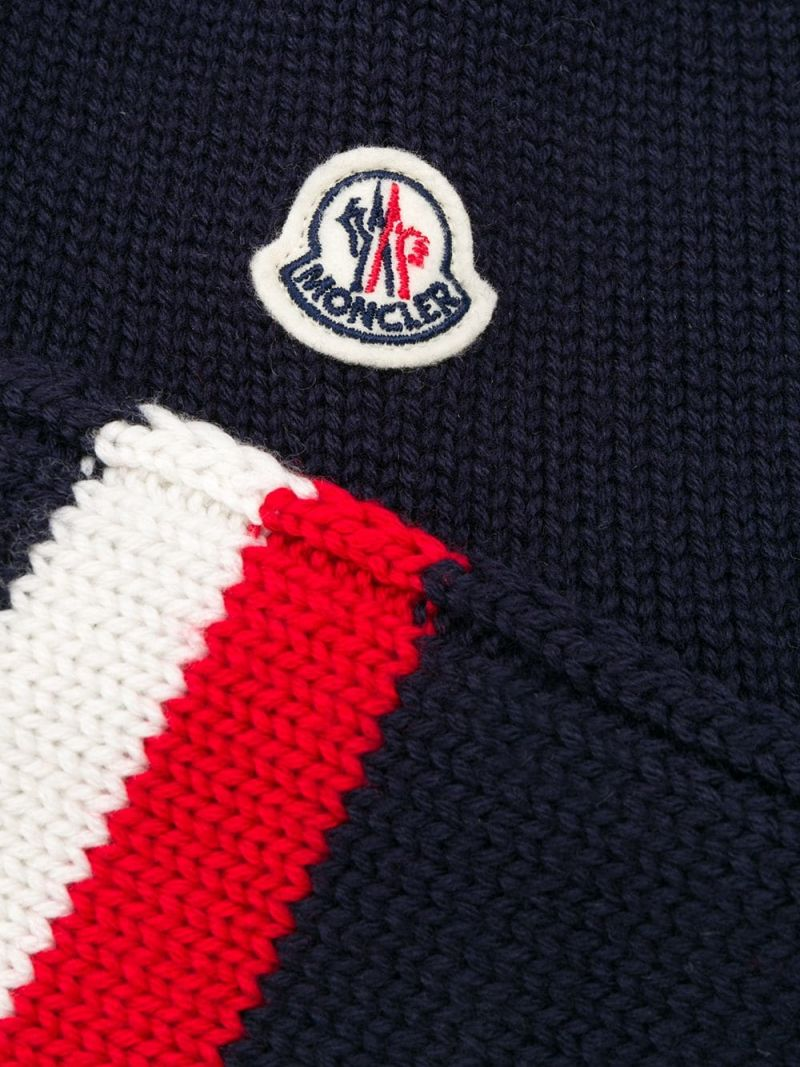 MONCLER KIDS: wool beanie with ear flaps Color Blue_2