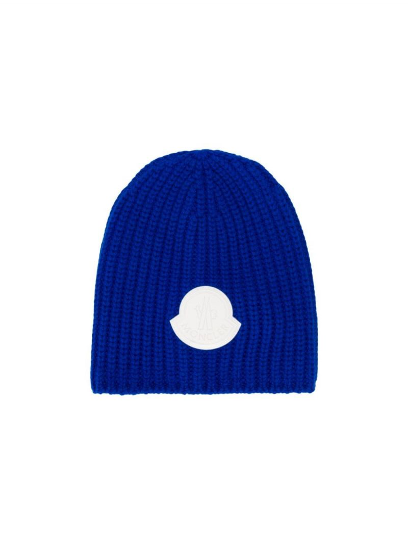 MONCLER KIDS: logo patch ribbed wool beanie Color Blue_1