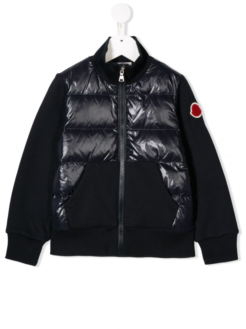 MONCLER KIDS: jersey full-zip sweatshirt with padded nylon insert Color Blue_1