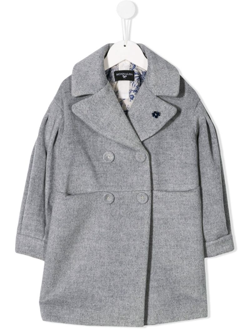 MONNALISA: wool blend double-breasted coat Color Grey_1