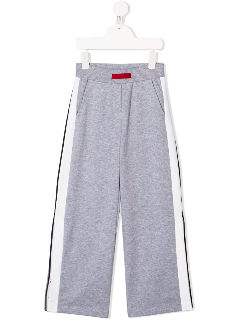 MONNALISA: jersey joggers with contrasting bands Color Grey_1