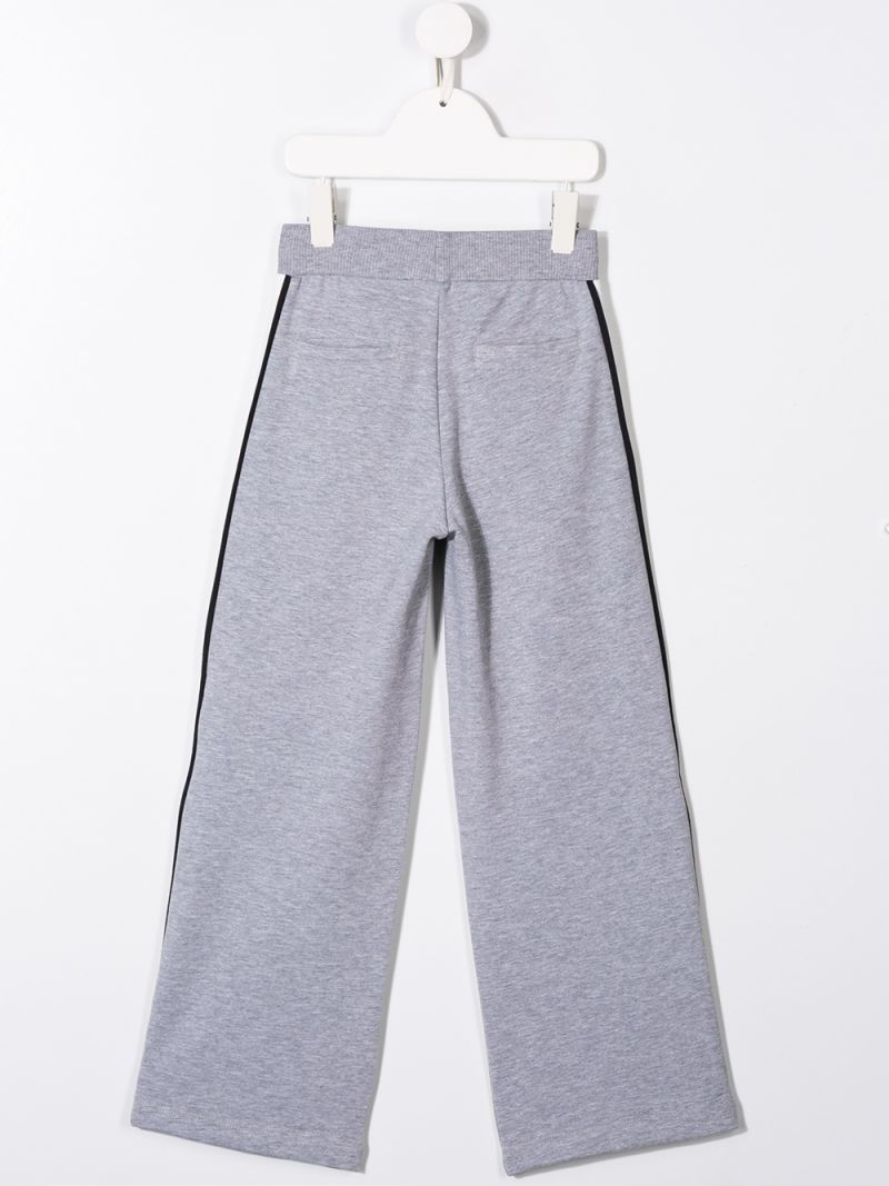 MONNALISA: jersey joggers with contrasting bands Color Grey_2
