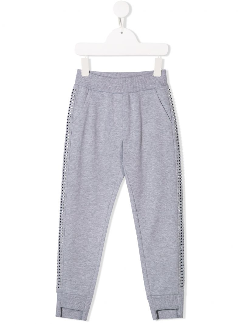 MONNALISA: jersey joggers with studs embellishment Color Multicolor_1