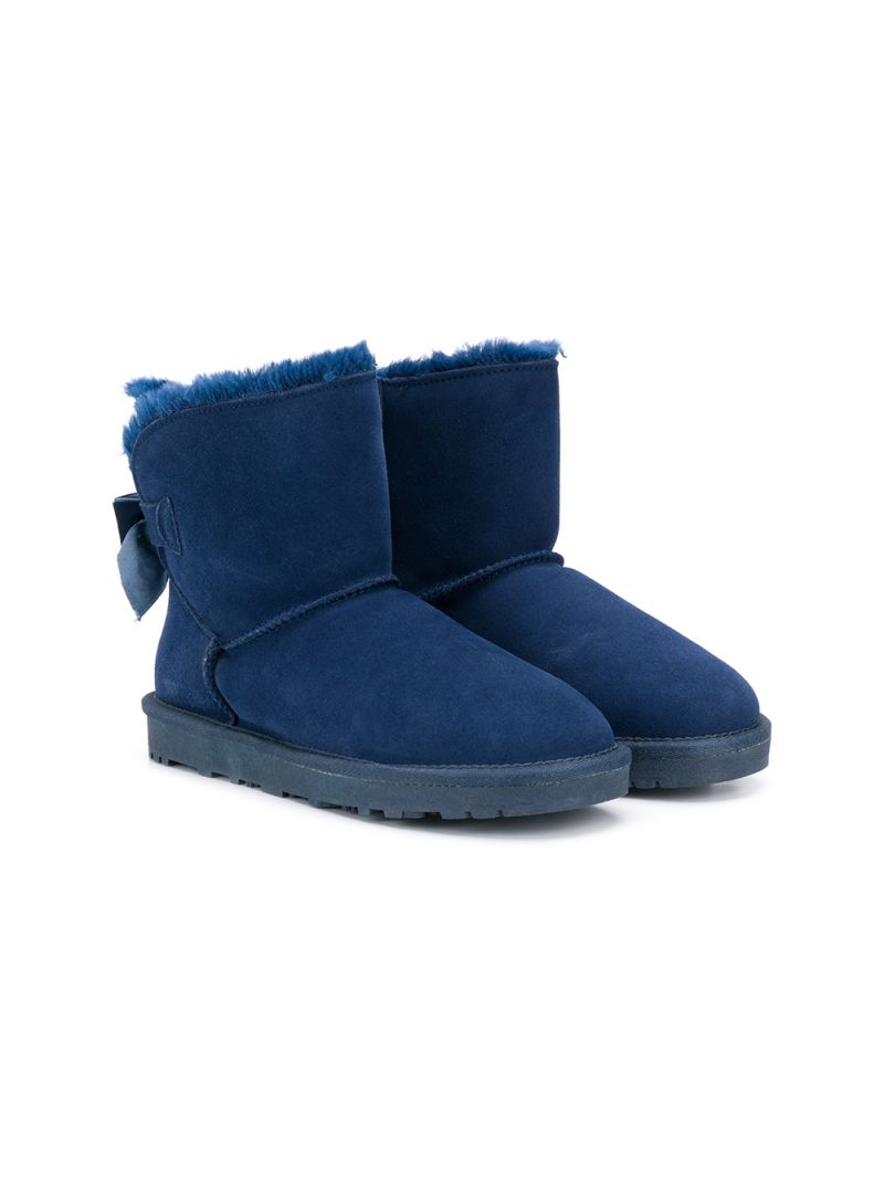MONNALISA: suede ankle boots with bow detail Color Blue_1