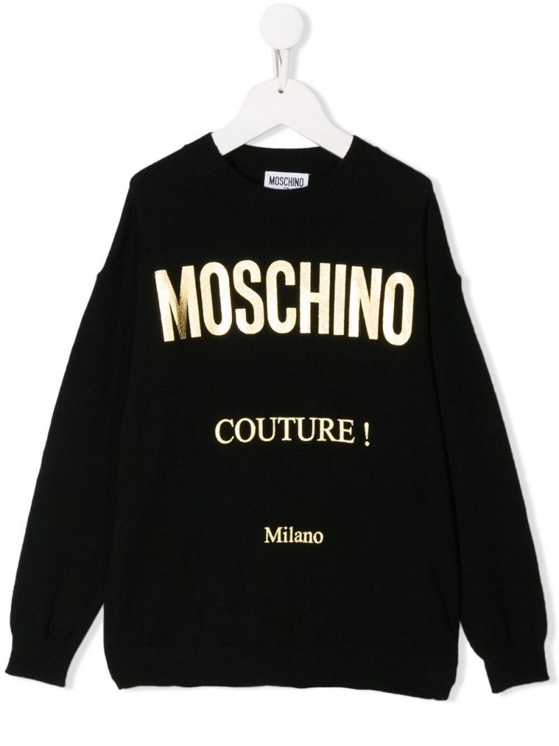 MOSCHINO KIDS: Moschino Couture! print cotton wool blend pullover Color Black_1