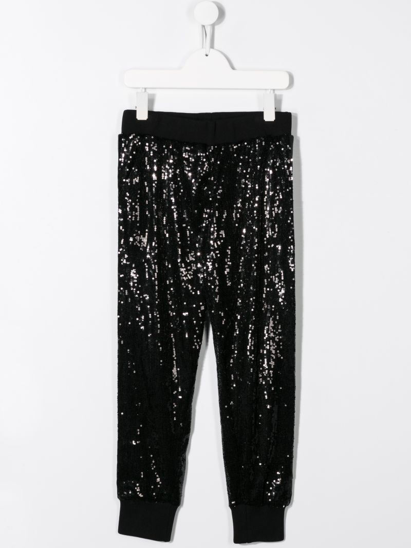 MSGM KIDS: sequinned joggers with logoed bands Color Black_2