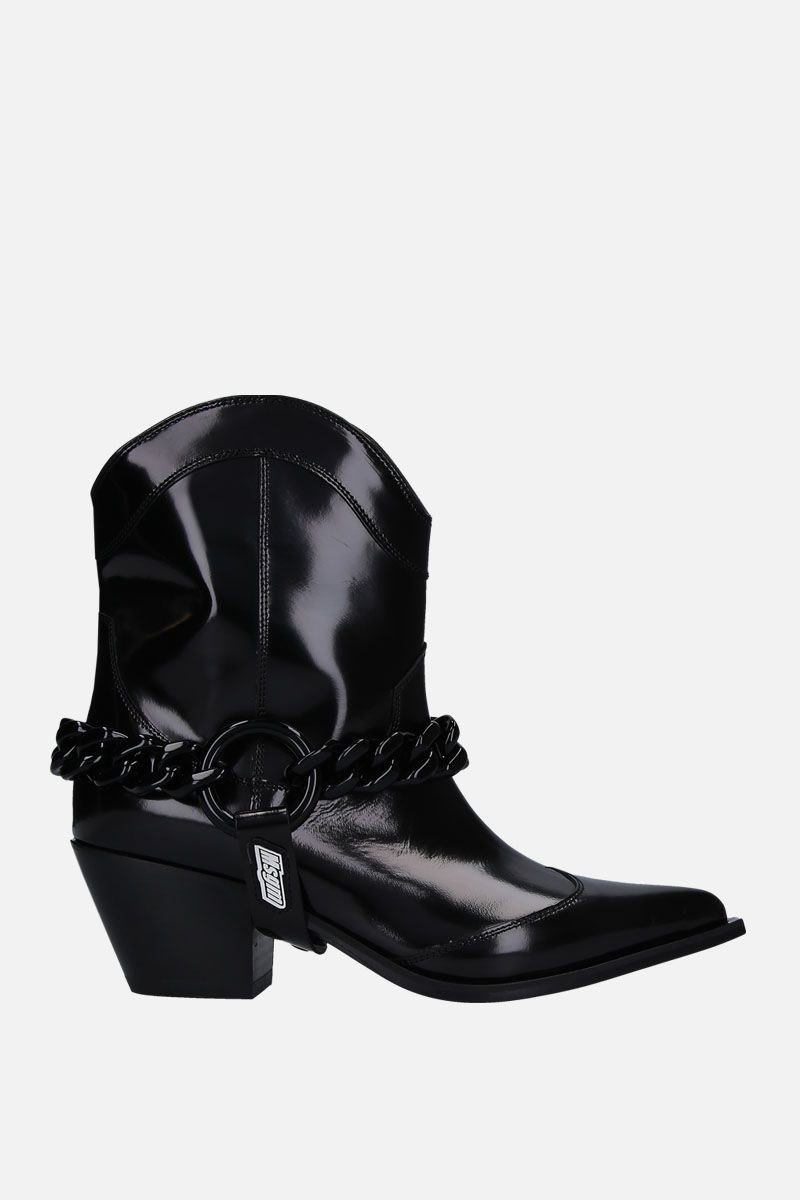 MSGM: shiny leather western boots Color Black_1