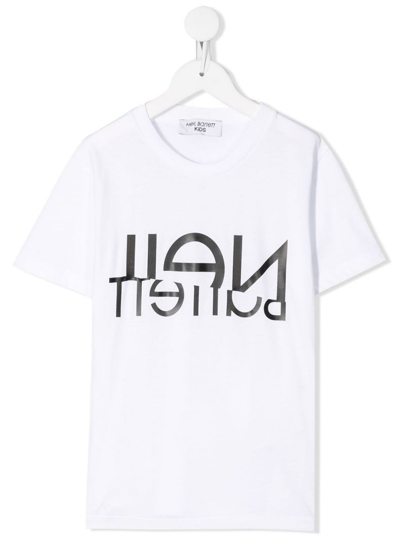 NEIL BARRETT KIDS: upside-down logo print jersey t-shirt Color White_1