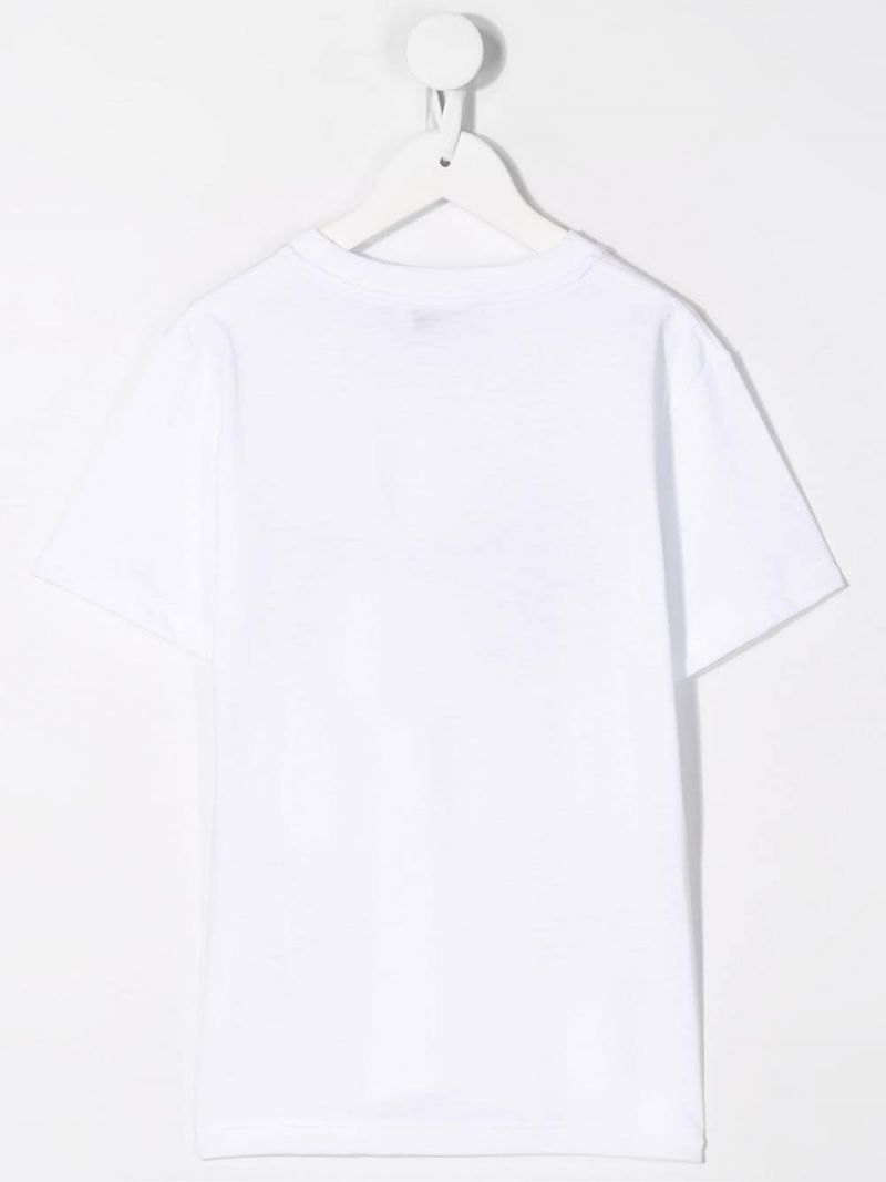 NEIL BARRETT KIDS: upside-down logo print jersey t-shirt Color White_2