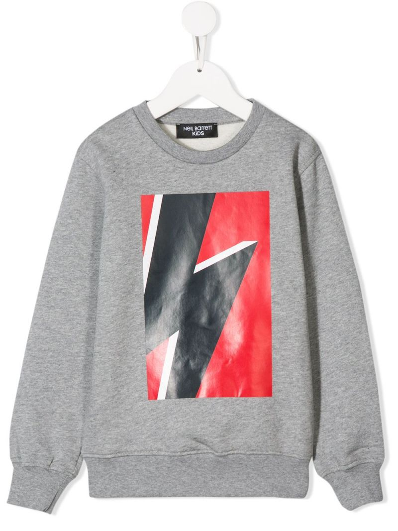 NEIL BARRETT KIDS: Thunderbolt print jersey sweatshirt Color Grey_1