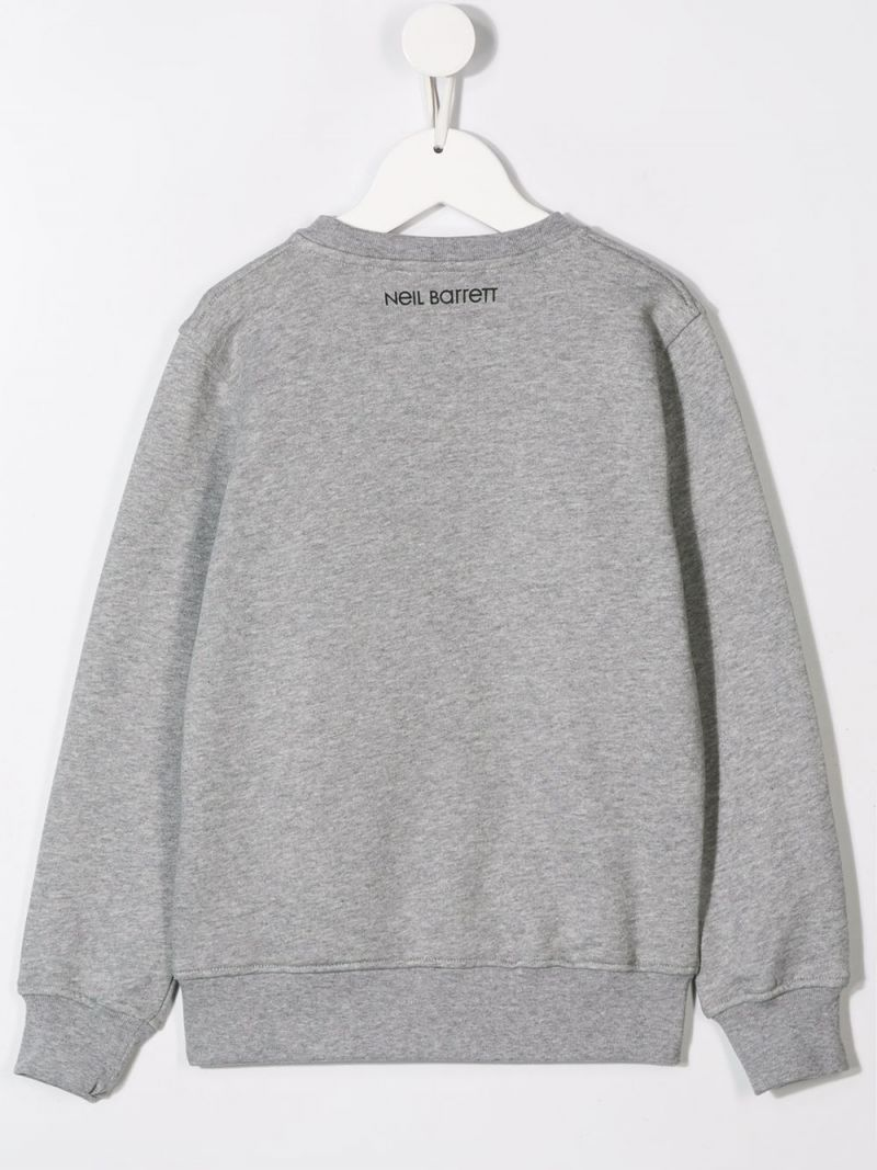 NEIL BARRETT KIDS: Thunderbolt print jersey sweatshirt Color Grey_2
