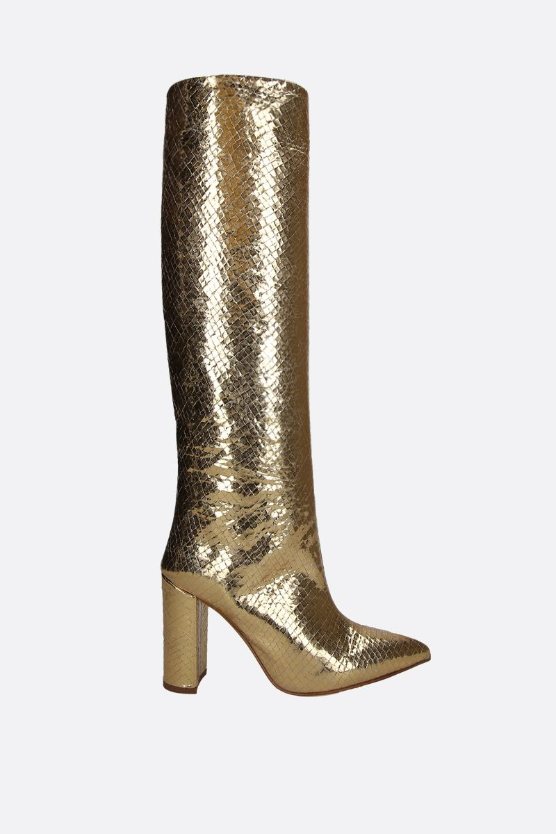 PARIS TEXAS: laminated snakeskin embossed leather boots Color Gold_1