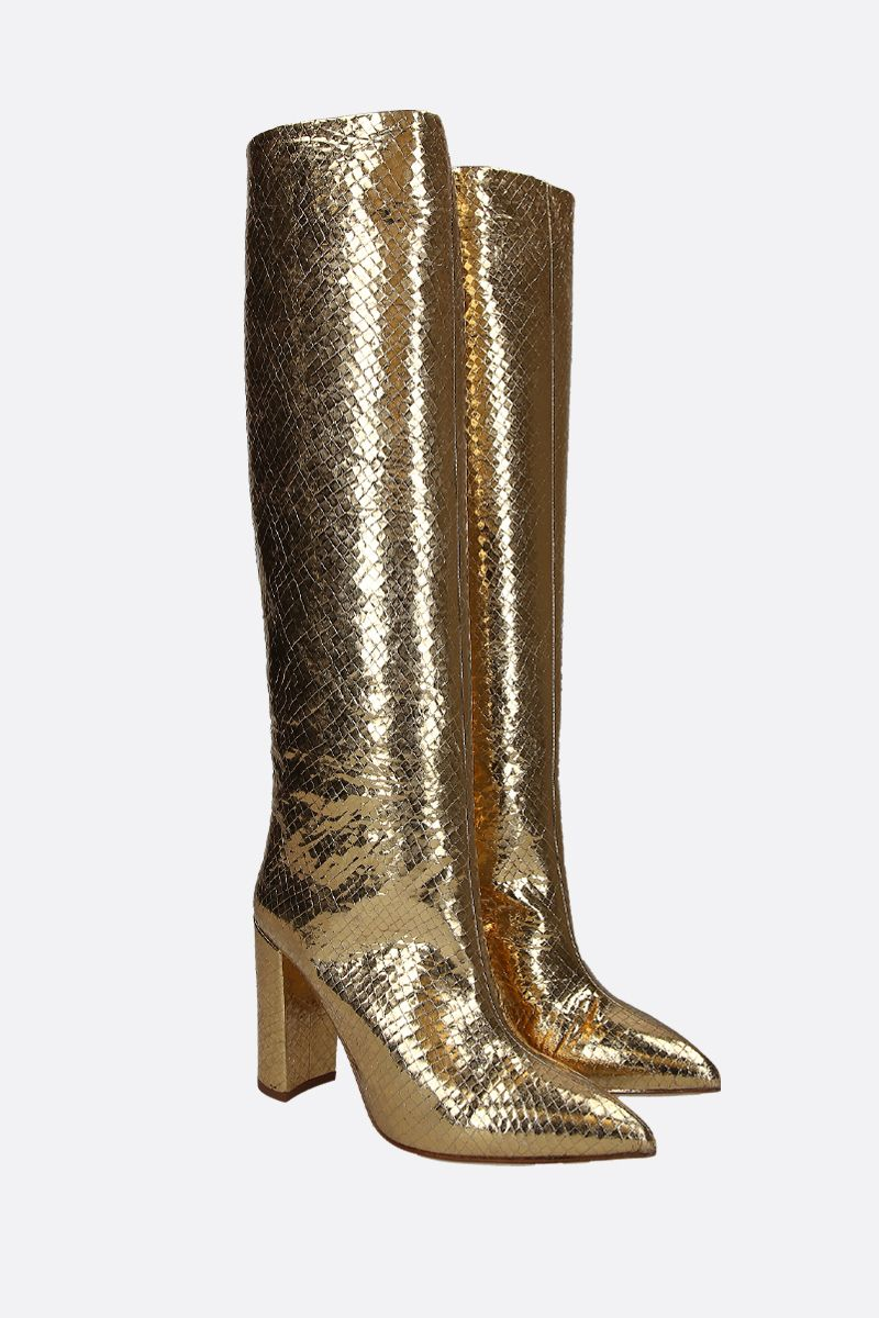 PARIS TEXAS: laminated snakeskin embossed leather boots Color Gold_2