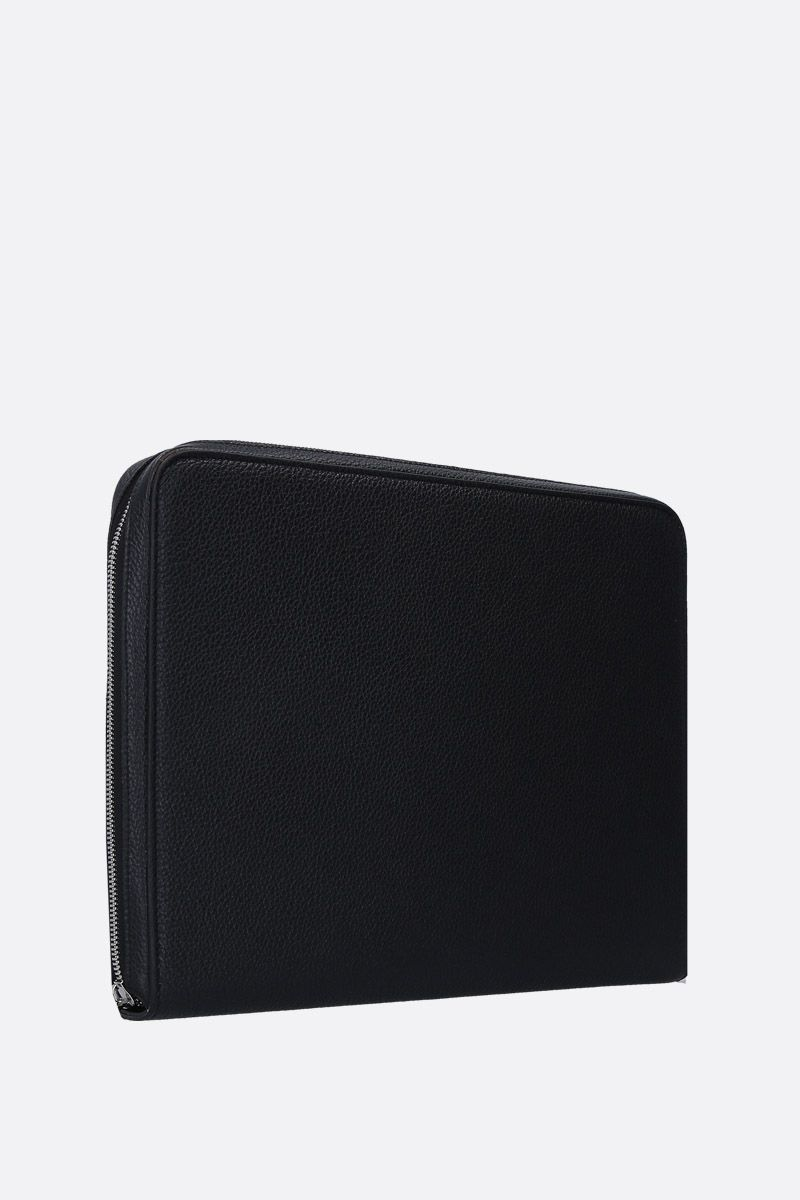 PINEIDER: Essential document holder in textured leather Color Black_2