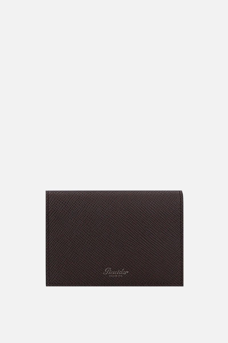 PINEIDER: 720 business card holder in textured leather Color Brown_1