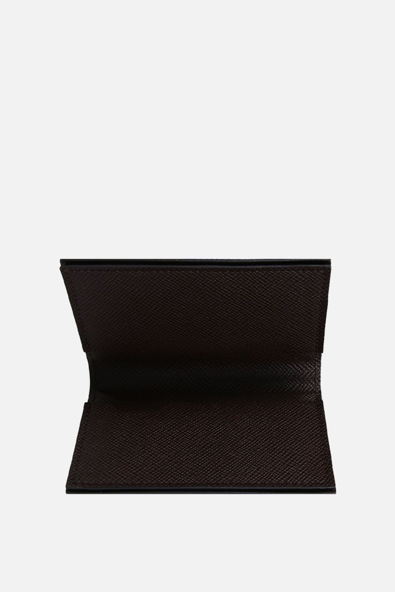 PINEIDER: 720 business card holder in textured leather Color Brown_2