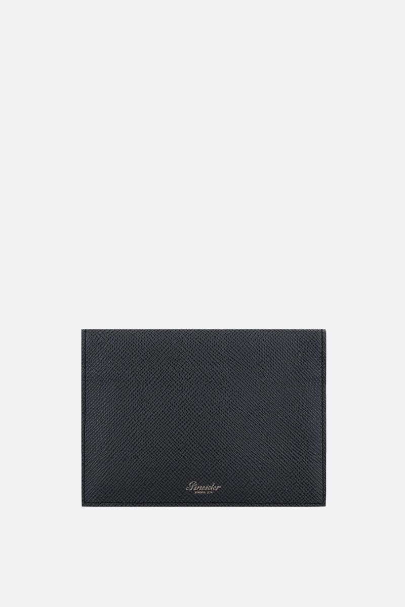 PINEIDER: 720 business card holder in textured leather Color Black_1