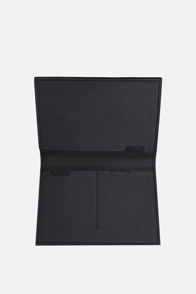 PINEIDER: 720 business card holder in textured leather Color Black_2