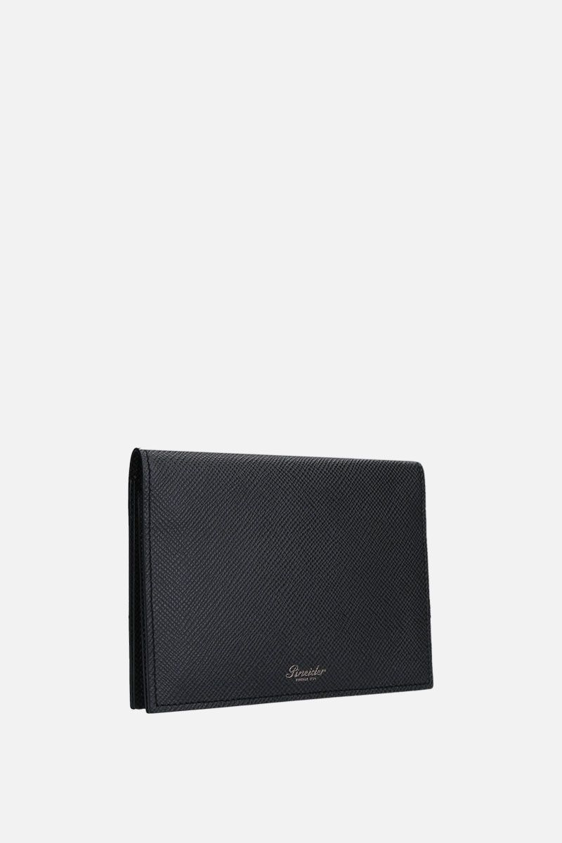 PINEIDER: 720 business card holder in textured leather Color Black_3