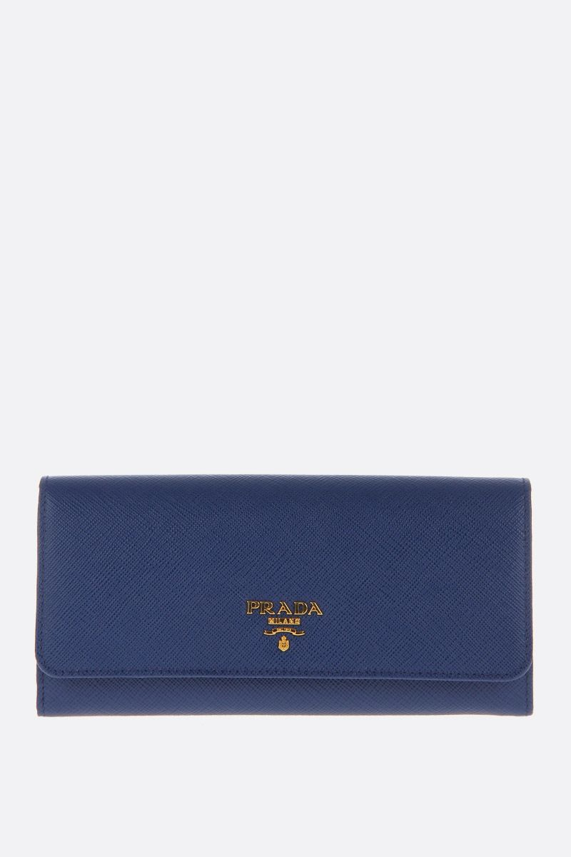 PRADA: Saffiano leather continental wallet Color Blue_1