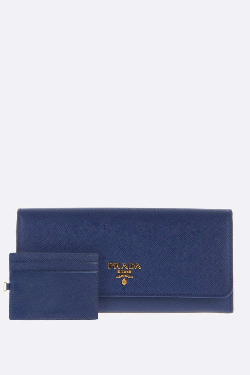 PRADA: Saffiano leather continental wallet Color Blue_2