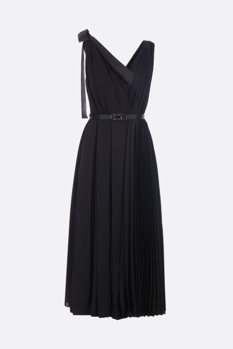 PRADA: twill sleeveless dress with pleated panel Color Black_1