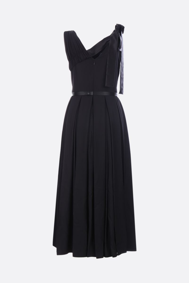 PRADA: twill sleeveless dress with pleated panel Color Black_2