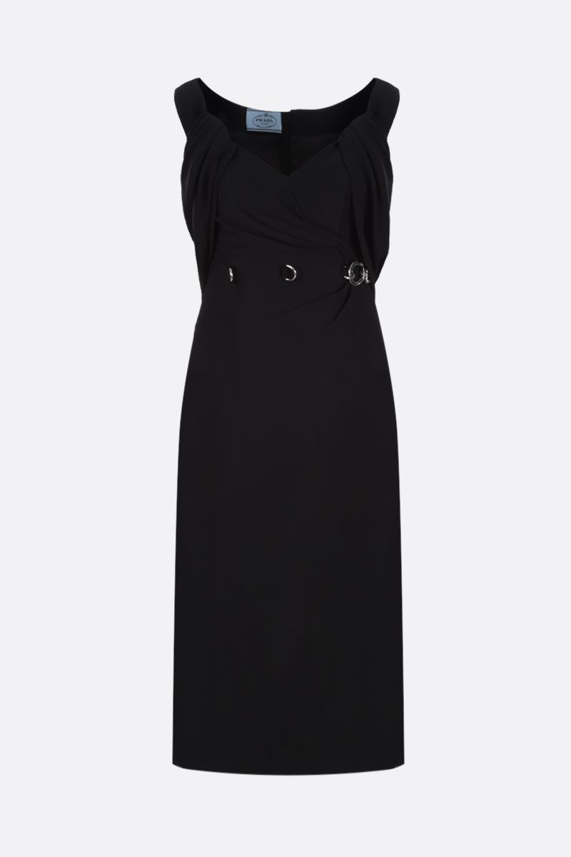 PRADA: carabiner-detailed cady midi dress Color Black_1