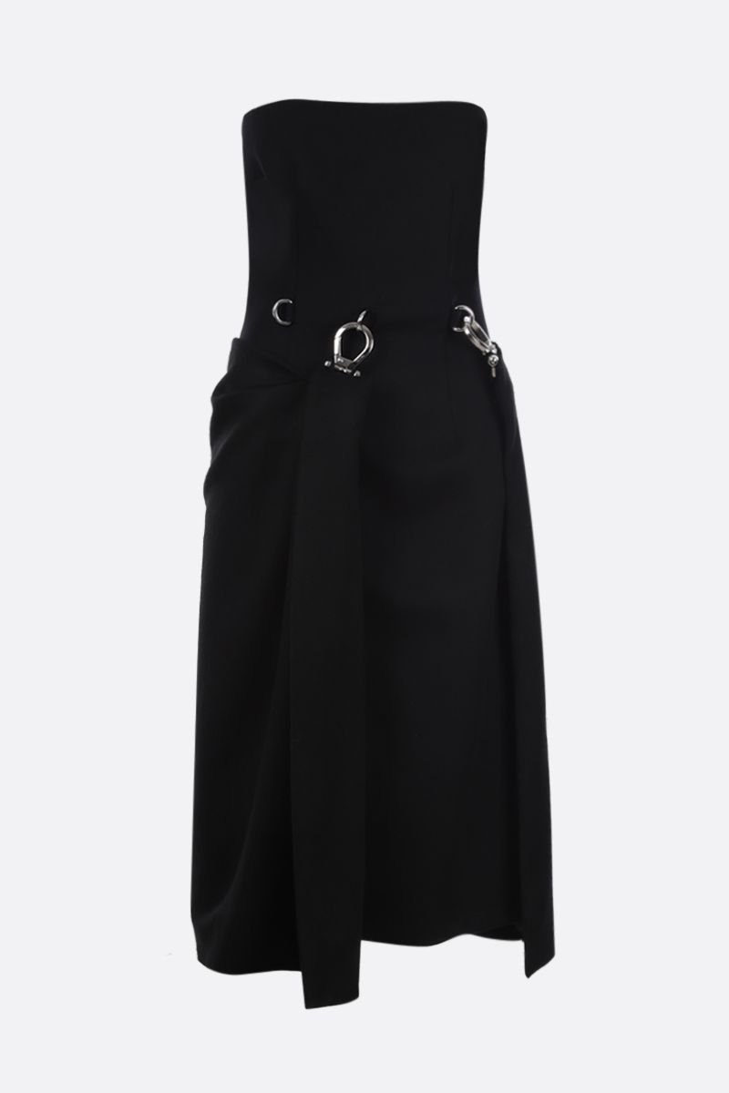 PRADA: wool bustier dress with removable panel Color Black_1
