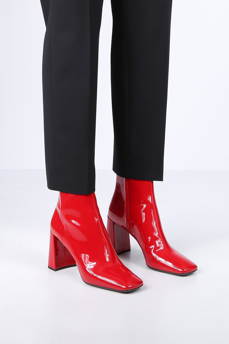 PRADA: patent leather ankle boots Color Red_2
