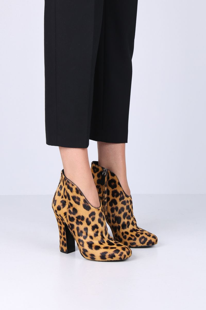 PRADA: leopard pony ankle boots Color Yellow_2