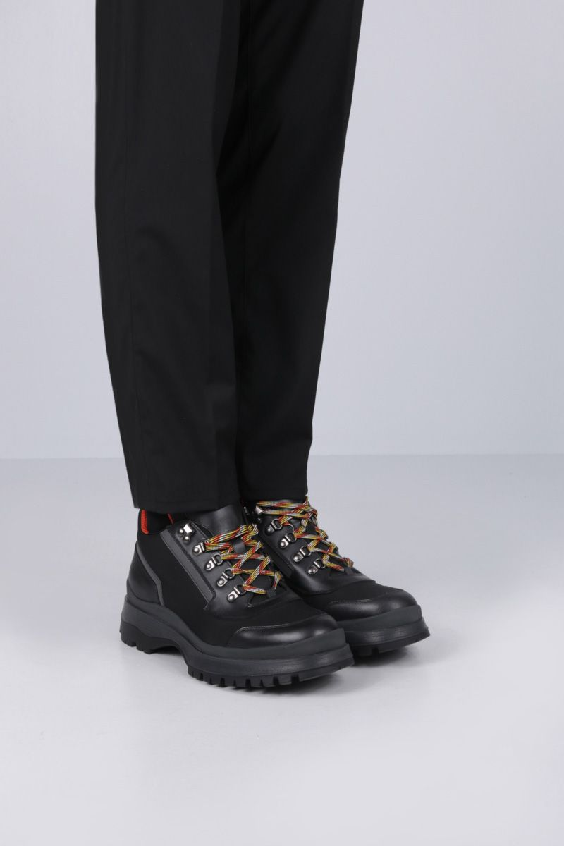 PRADA: nylon and smooth leather ankle boots Color Black_2