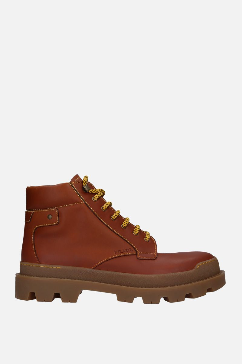 PRADA: smooth leather lace-up boots Color Brown_1