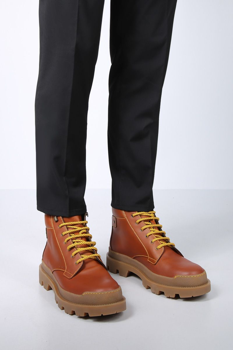 PRADA: smooth leather lace-up boots Color Brown_2