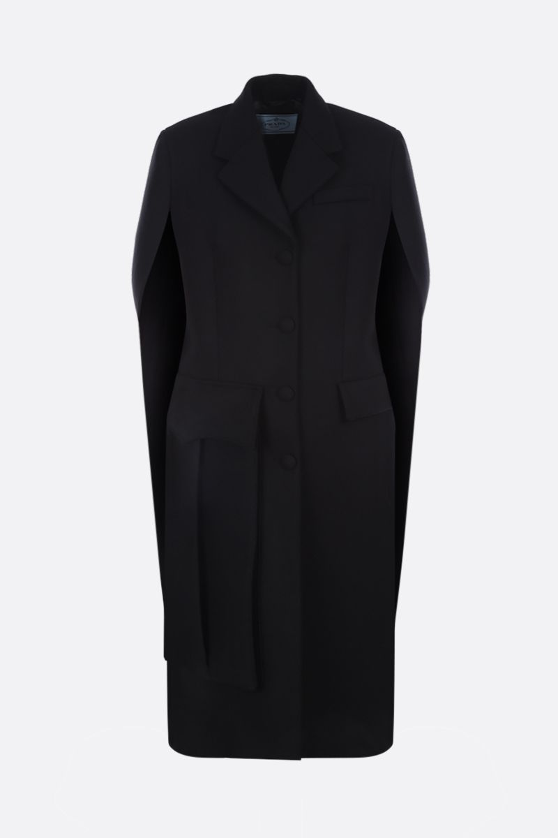 PRADA: wool single-breasted cape Color Black_1