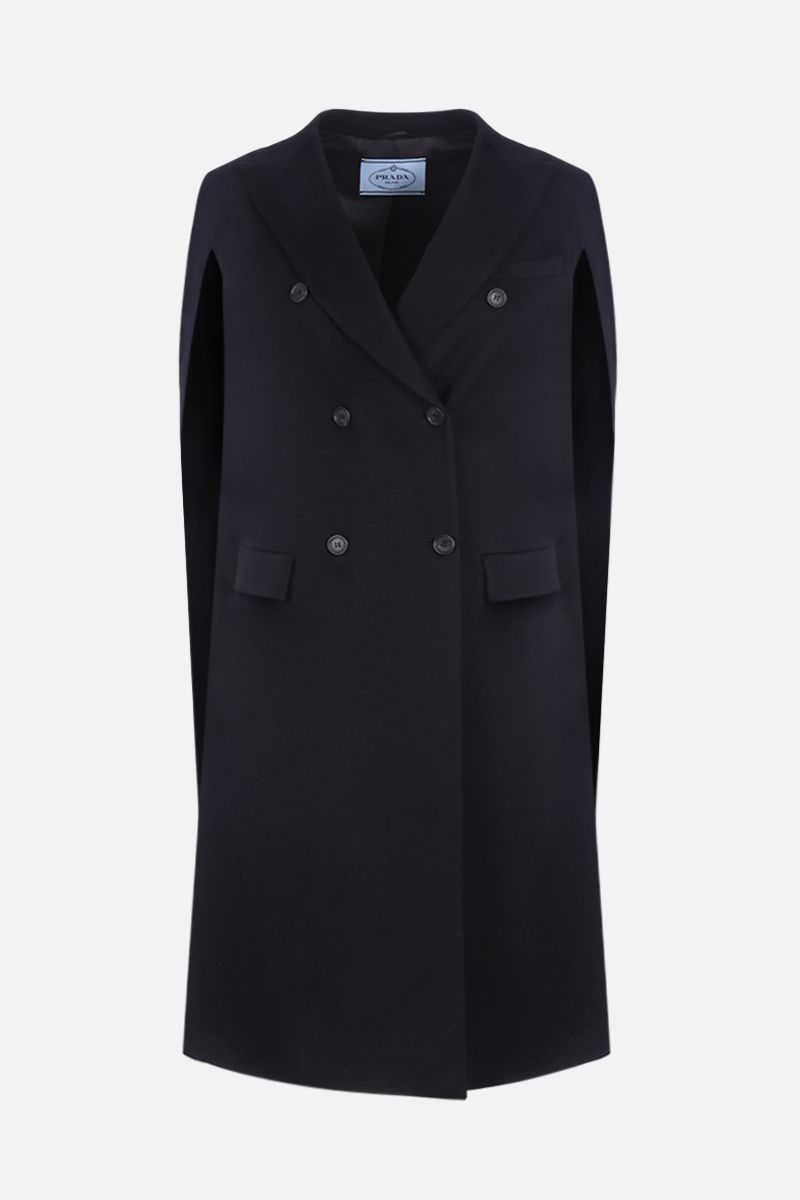 PRADA: cashmere double-breasted cape Color Black_1