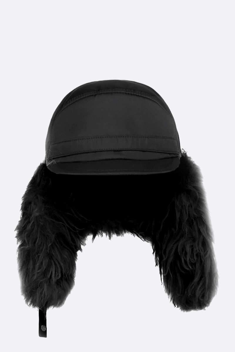PRADA: nylon baseball cap with ear flaps Color Black_2