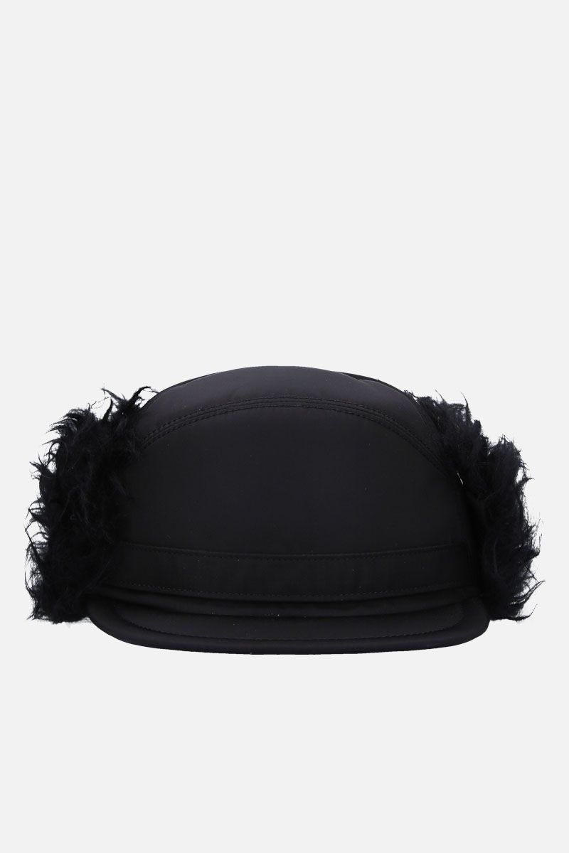 PRADA: fur trimmed nylon baseball cap Color Black_1