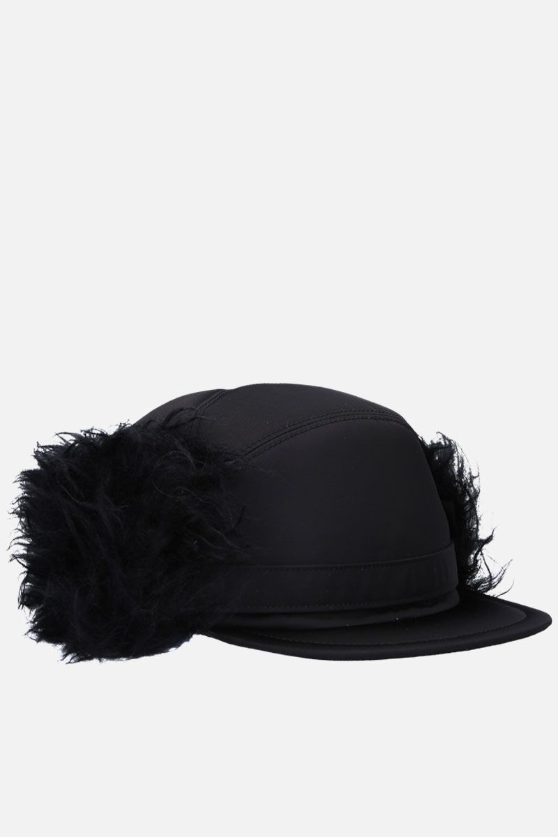 PRADA: fur trimmed nylon baseball cap Color Black_2