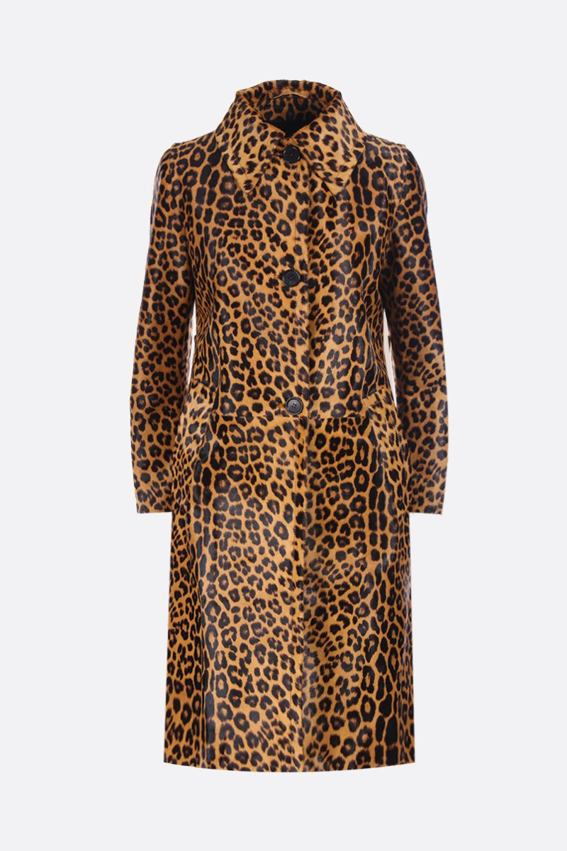 PRADA: leopard print pony single-breasted coat Color Brown_1