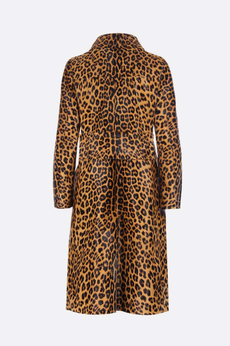 PRADA: leopard print pony single-breasted coat Color Brown_2
