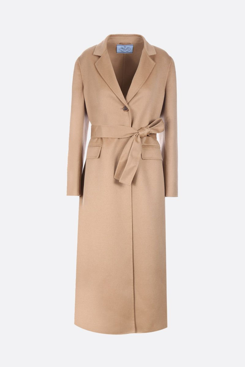PRADA: wool, angora and cashgora single-breasted coat Color Brown_1
