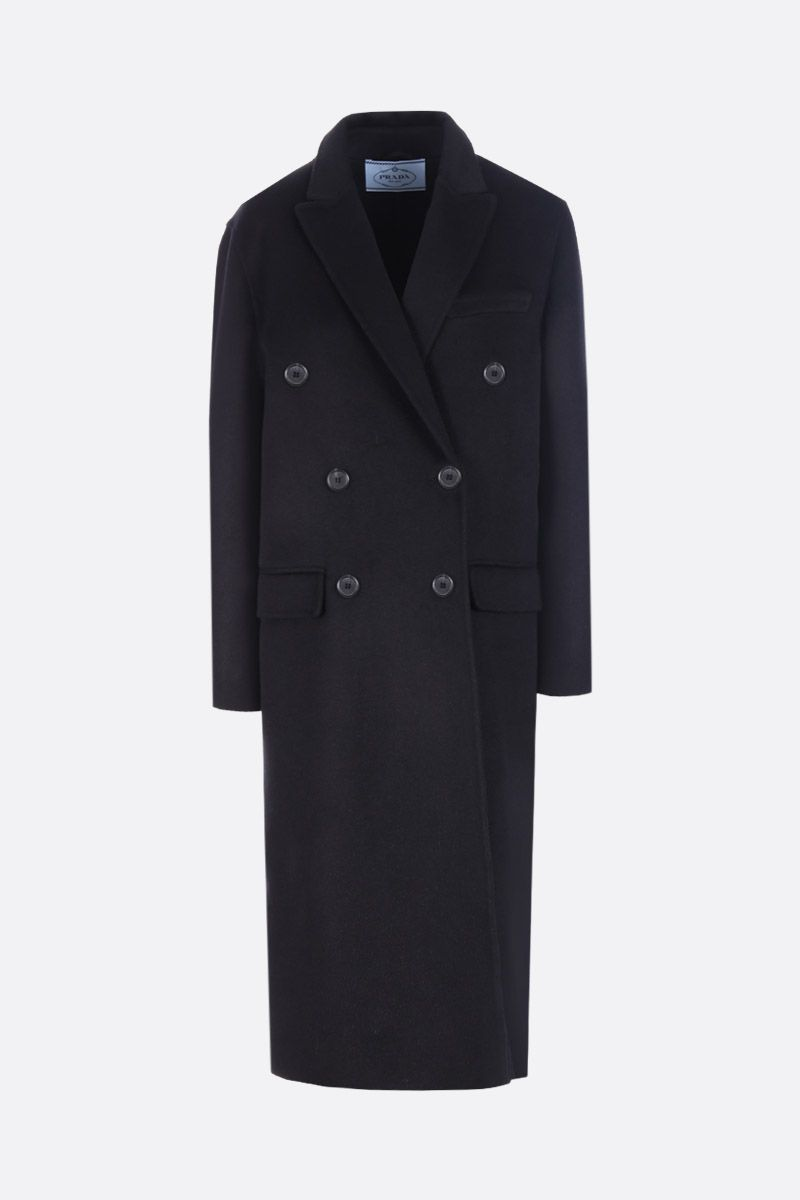 PRADA: wool and angora blend single-breasted coat Color Black_1