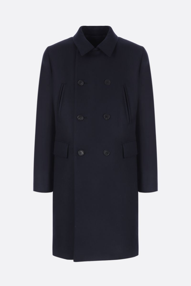 PRADA: double-breasted padded coat in wool Color Blue_1