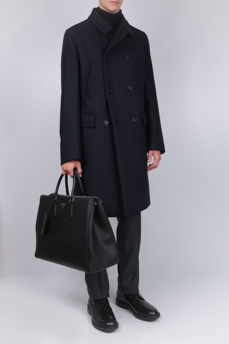 PRADA: double-breasted padded coat in wool Color Blue_2