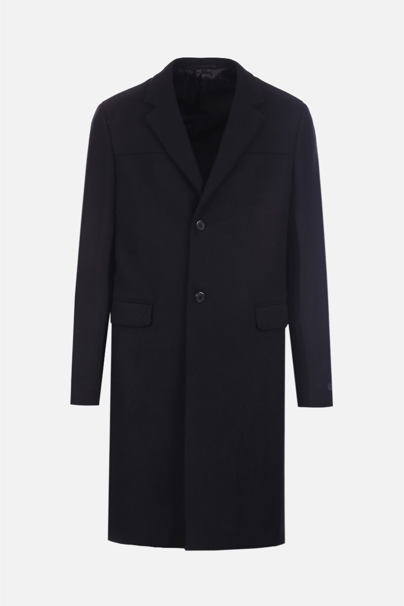 PRADA: single-breasted coat in wool and cashmere blend Color Black_1