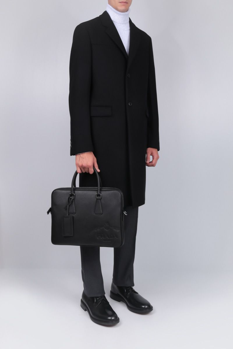 PRADA: single-breasted coat in wool and cashmere blend Color Black_2