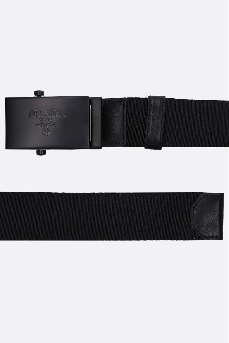 PRADA: fabric belt with logoed buckle Color Black_2