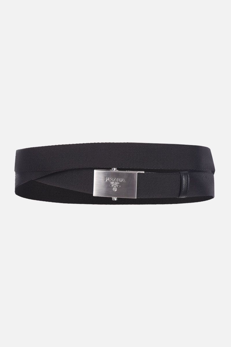 PRADA: double-wrap nylon belt with logoed buckle Color Black_1