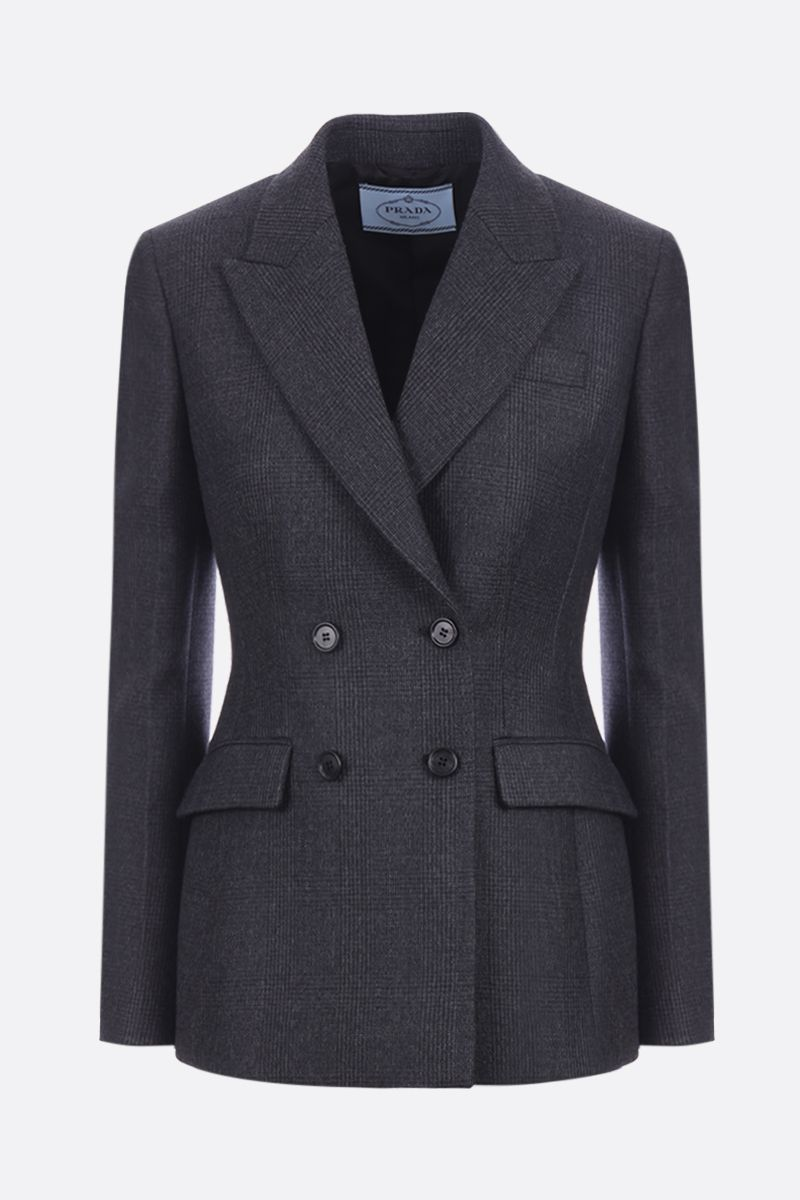 PRADA: prince of Wales wool double-breasted jacket Color Black_1